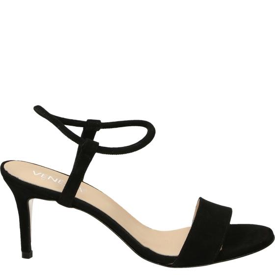 Czarne sandały na szpilce z paskiem