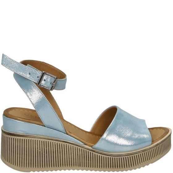 venezia sandały na obcasie niebieskie