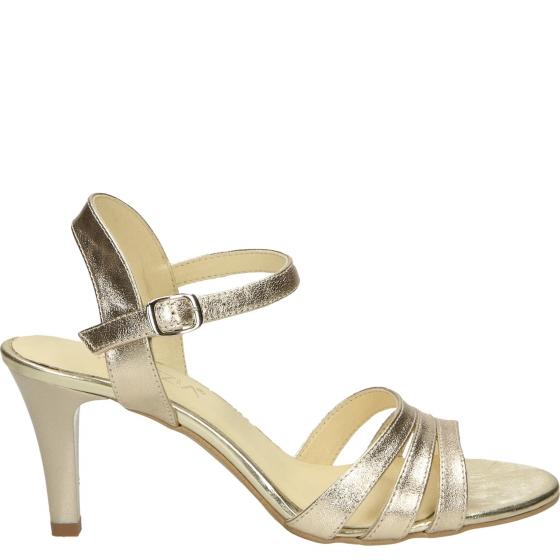 sandały na szpilce złote skórzane venezia