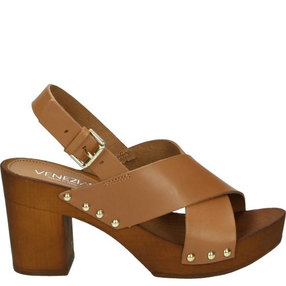 sandały skórzane brązowe na słupku 5 cm