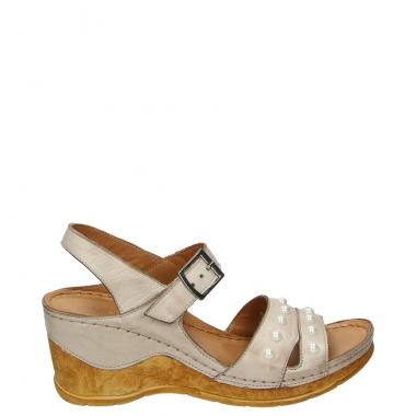 Sandały damskie skórzane na płaskim obcasie sezon